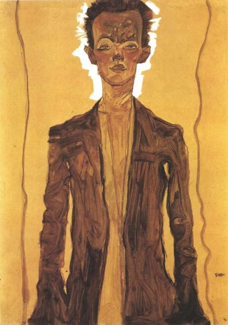 Egon Schiele, Autoritratto con camicia marrone, 1910