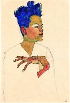 Egon Schiele, Autoritratto con le mani sul petto
