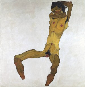 Egon Schiele, Uomo nudo seduto (autoritratto), 1910
