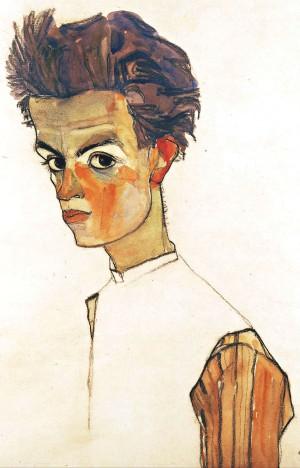 Egon Schiele, Autoritratto con camicia rigata, 1910