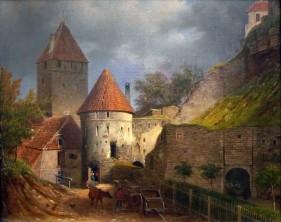 Ernst Hermann Schlichting, La vecchia stazione delle diligenze presso La Porta Nunne a Tallinn, 1865