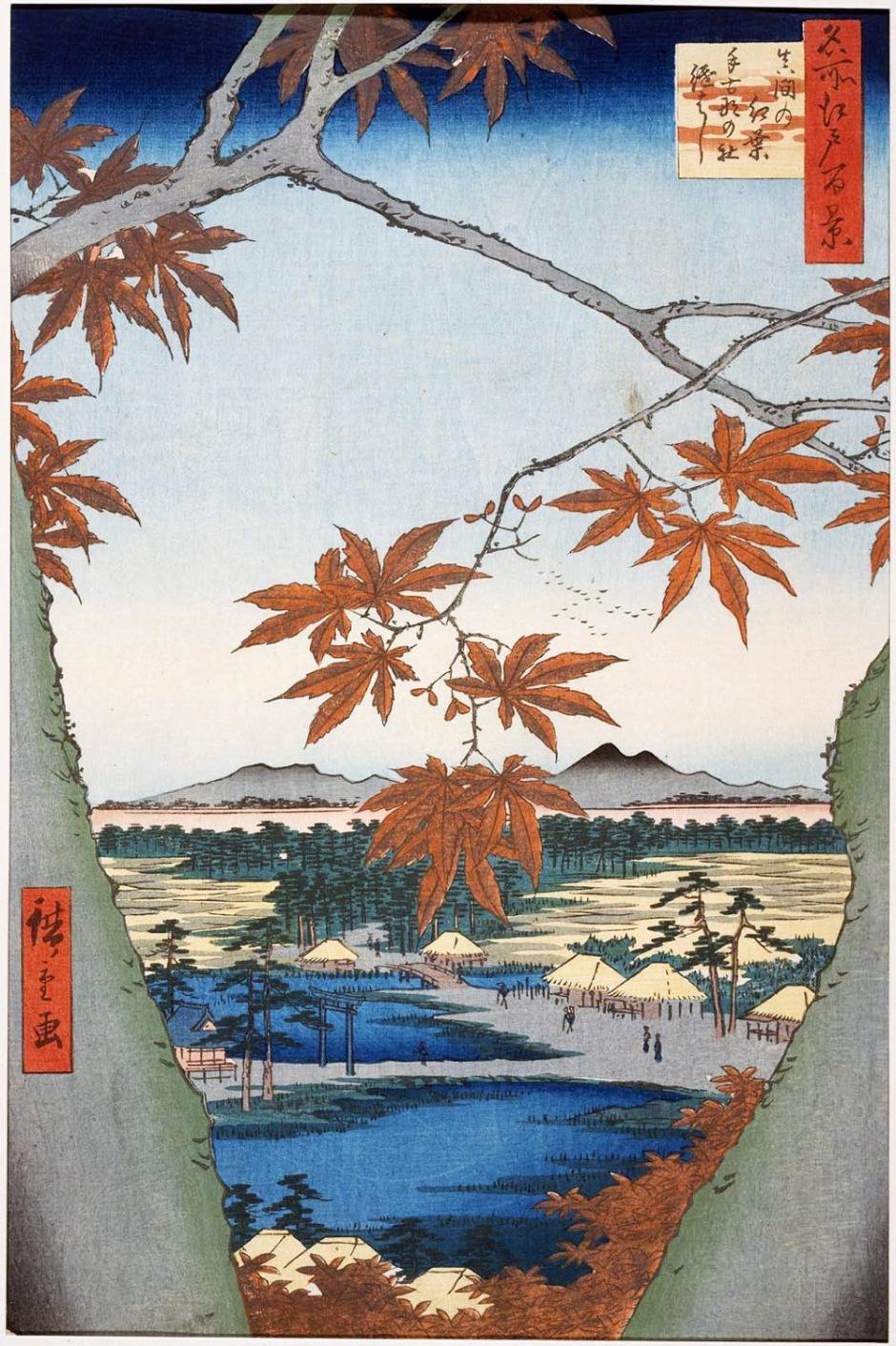 Hiroshige, Foglie di acero a Mama