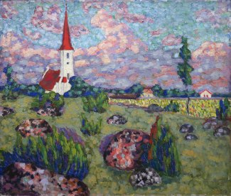 Konrad Mägi, Paesaggio con chiesa, 1913-14