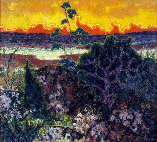 Konrad Mägi, Paesaggio con nuvola rossa, 1913-14