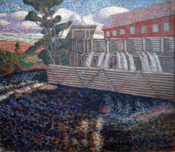 Konrad Mägi, Soggetto norvegese con mulino ad acqua, 1908-10