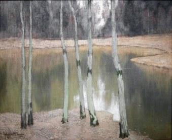 Johann Walter, Paesaggio con bosco di betulle, 1904 circa