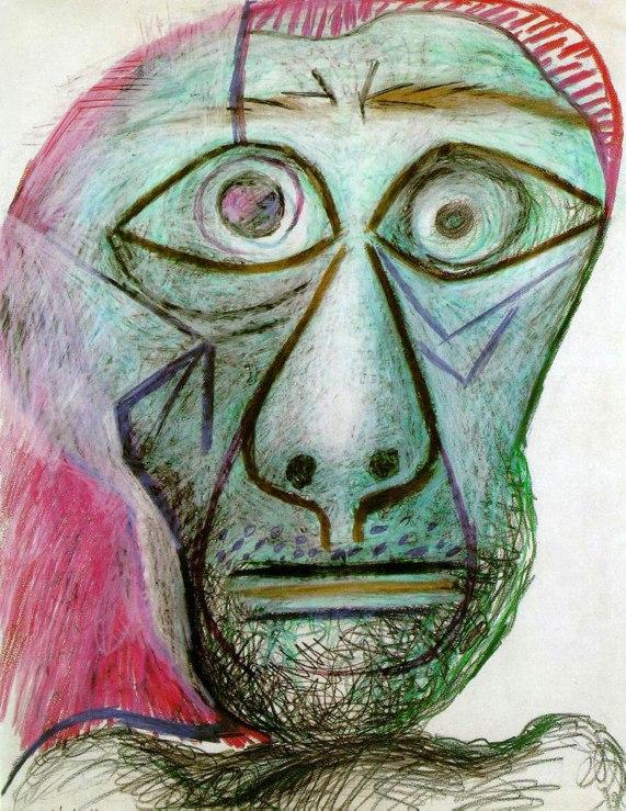 Pablo Picasso, Autoritratto con in faccia la morte, 1972