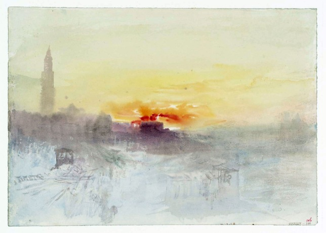 Venice at Sunrise from the Hotel Europa, with the Campanile of San Marco circa 1840 Joseph Mallord William Turner 1775-1851 Accepted by the nation as part of the Turner Bequest 1856 http://www.tate.org.uk/art/work/D35949