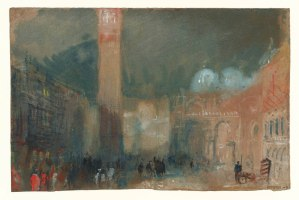 Venice: The Piazzetta, with San Marco and its Campanile; Night circa 1840 Joseph Mallord William Turner 1775-1851 Accepted by the nation as part of the Turner Bequest 1856 http://www.tate.org.uk/art/work/D32220