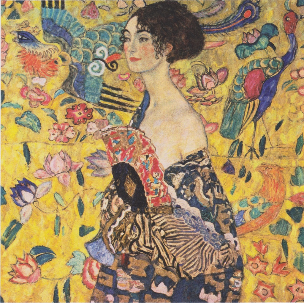 Gustav Klimt ritratto donna ventaglio