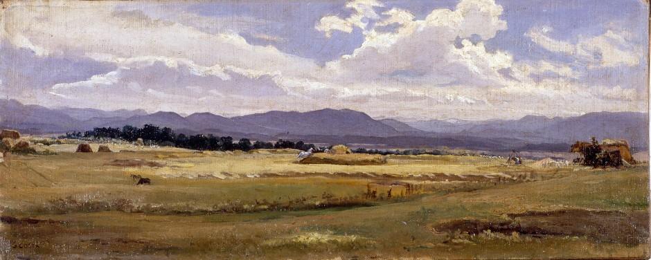nino costa, trebbiatura nella campagna romana, 1854
