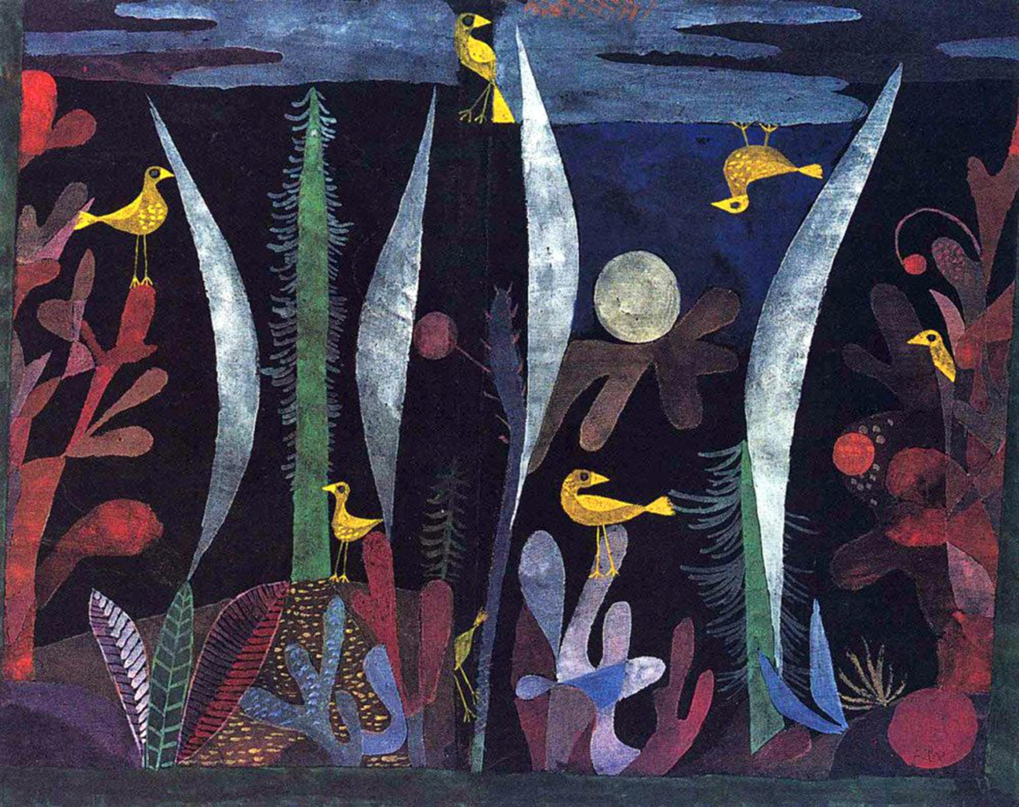 paul klee, paesaggio con uccelli gialli, 1923
