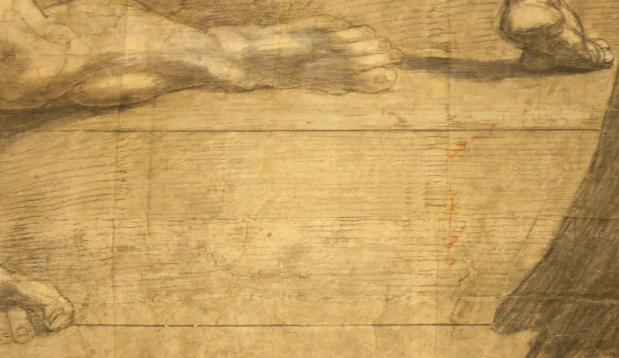 Cartone preparatorio per la Scuola di Atene, dettagli architettonici (in rosso)