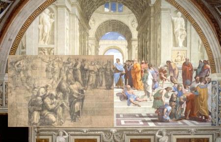 Raffaello Scuola di Atene cartone affresco