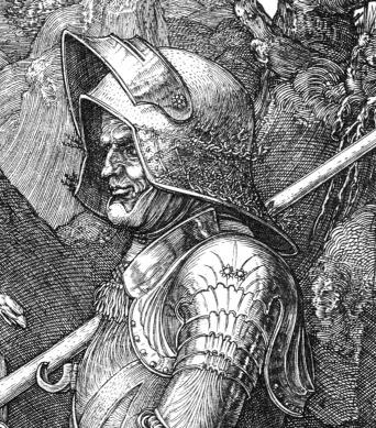 Albrecht Durer, Il cavaliere, la morte e il diavolo-dett3