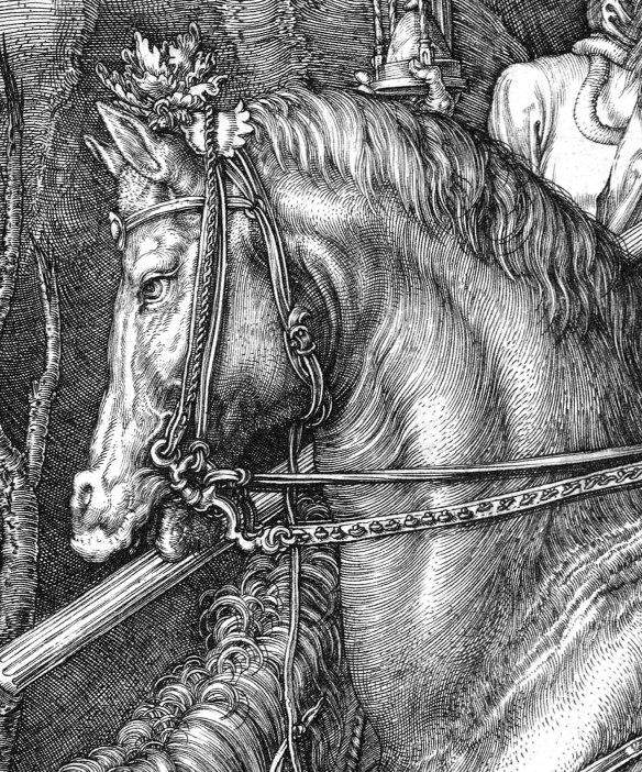 Albrecht Durer, Il cavaliere, la morte e il diavolo-dett4