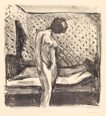 Edvard Munch, Giovane donna piangente vicino al letto, 1930