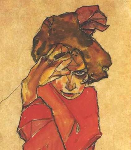 79_Egon Schiele, Ragazza inginocchiata in abito arancio-part