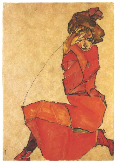 Egon Schiele Ragazza inginocchiata in abito arancio