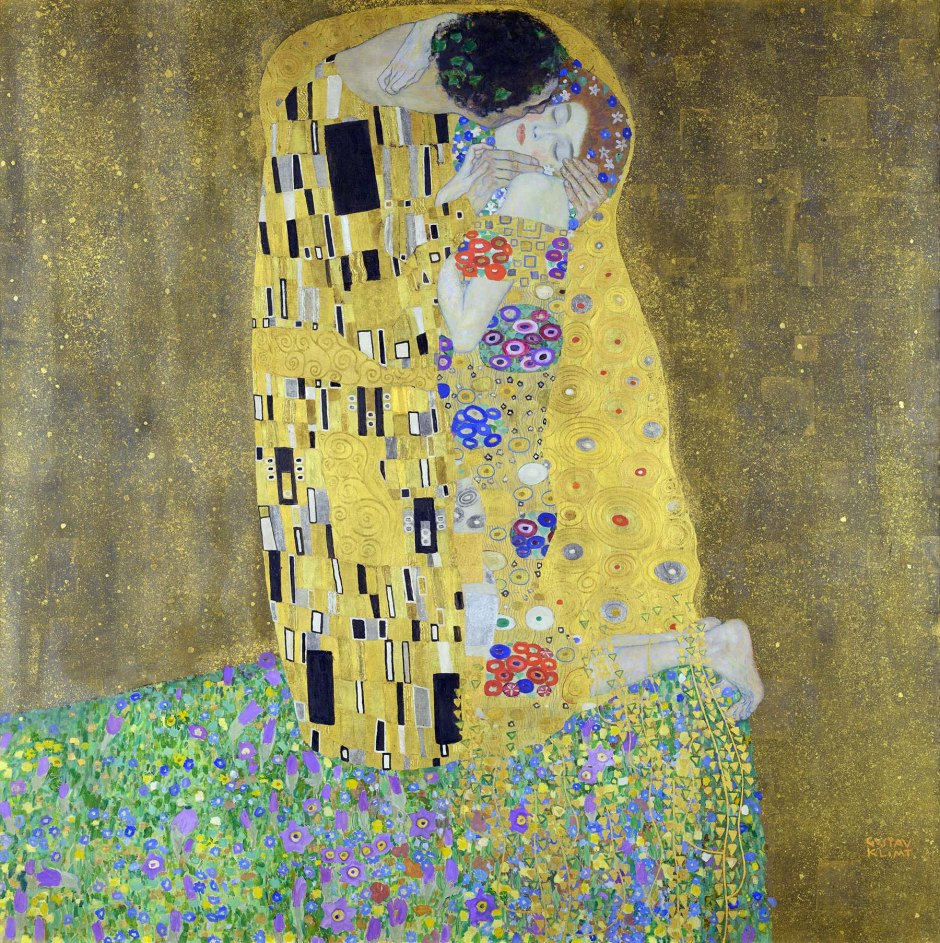 Gustav Klimt, Il bacio, 1907-08