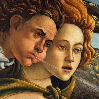 Sandro Botticelli, La nascita di Venere, 1483-85, dettaglio 3