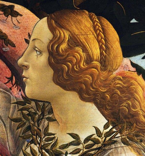 Sandro Botticelli, La nascita di Venere, 1483-85, dettaglio 4