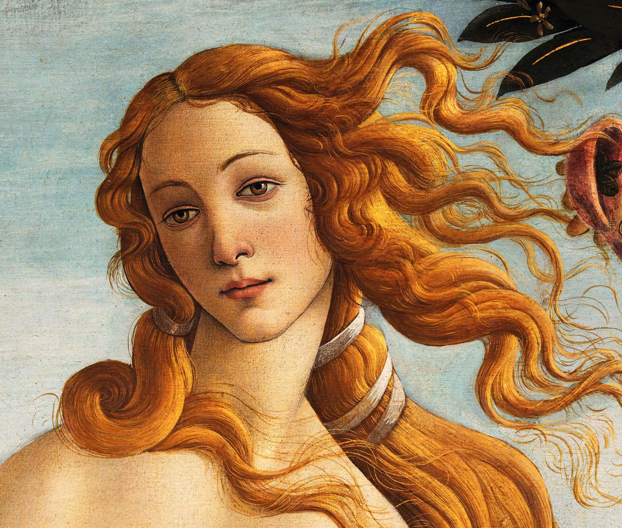 Sandro Botticelli, La nascita di Venere, 1483-85, dettaglio 7