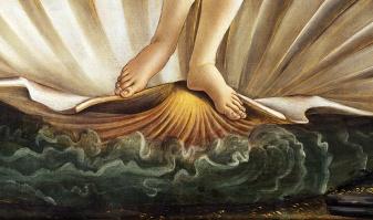 Sandro Botticelli, La nascita di Venere, 1483-85, dettaglio 9