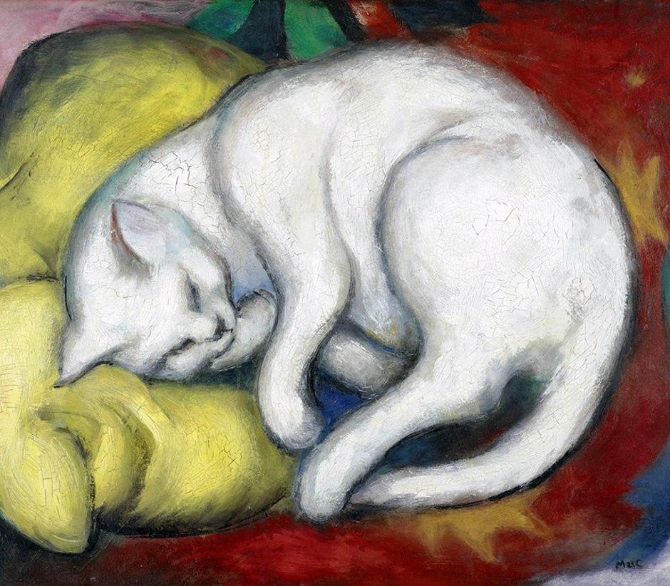 Franz Marc, Gatto su un cuscino giallo, 1912