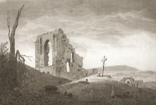 Caspar David Friedrich, Rovine di Elena con funerale (Il cimitero presso le rovine della chiesa), post 1801