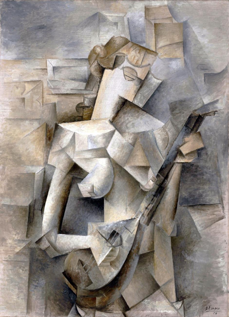 Pablo_Picasso, Ragazza con mandolino (Fanny Tellier), 1910